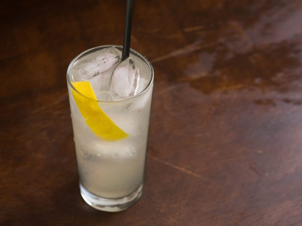 A Tom Collins cocktail